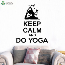 YOYOYU Wall Decal Fitness Woman Quotes Keep Calm And Do Yoga Stickers Vinyl Gym Sport Studio Removable Art Decor CT710