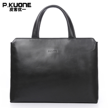 P.KUONE Brand Simple Design Genuine Leather Men Handbag Multifunctional Notebook Bag Business Briefcase Leather Hand Bag For Men