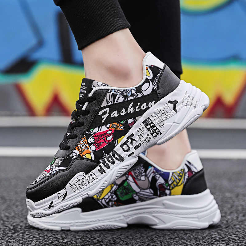¡Verano 2020! Zapatillas blancas De ERNESTNM, zapatillas deportivas informales De moda para Mujer, zapatillas planas con grafiti para Mujer, Zapatos De Mujer vulcanizados