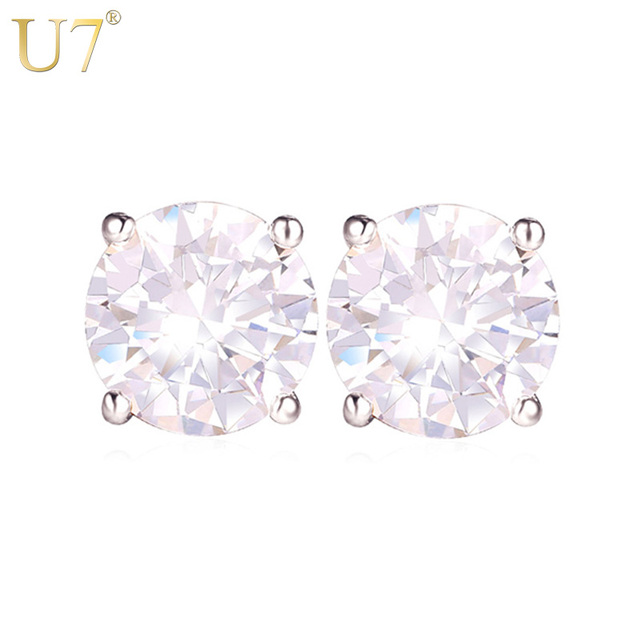 U7 Zircon Crystal Earrings Silver/Gold Color Round Square CZ Stud Earrings For Women Luxury Jewelry Gift Wholesale E477
