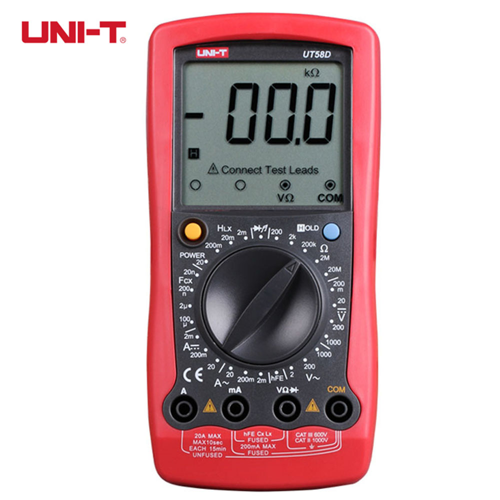UNI-T UT58D 1999 Counts LCD Large Screen Digital Multimeter AC DC Voltage Current Resistance Capacitance Inductance Meter Tester uni t ut603 2 7 lcd digital inductance capacitance tester red grey 1 x 9v
