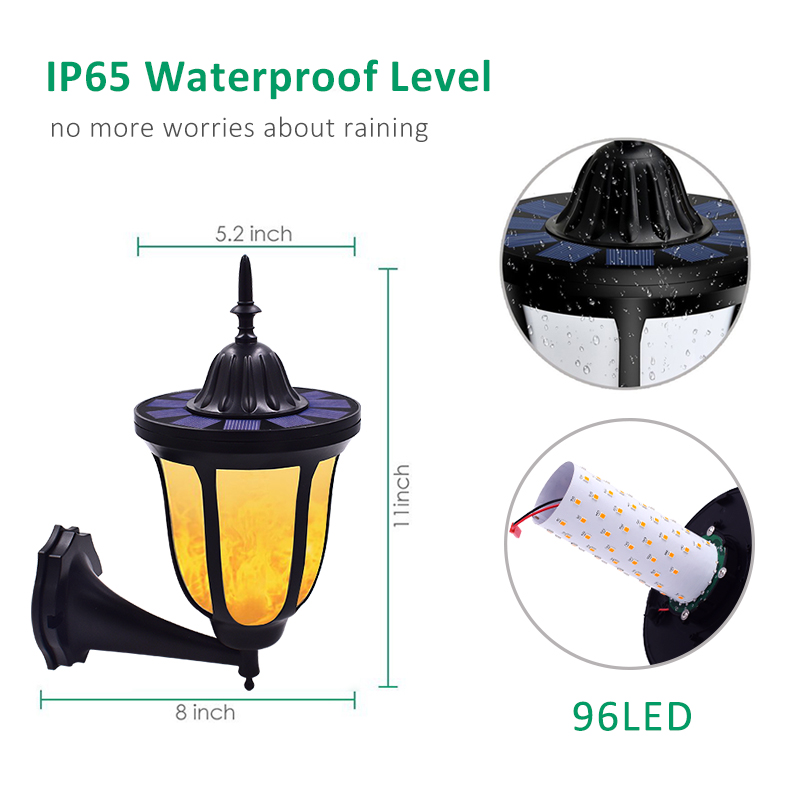Image 3 - Solar Wall Lights Flickering Flames 96 LED Outdoor Dancing Night Light Waterproof New Lantern Design for Garden Door Patio Yard-in Solar Lamps from Lights & Lighting