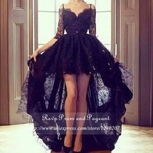 Hot Sale Long Black Prom Dress V-neck Off The Shoulder Asymmetrical Short In Front Long Back Lace Prom Dresses 2017