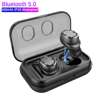 GIAUSA TWS 02 Sport Bluetooth V5.0 Headset Touch Control True Earbuds Bass 6D Stereo Head free IPX5 Waterproof 500mAh Batteries