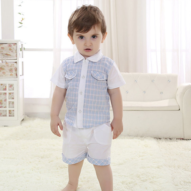 New summer baby boys clothing sets,  kids branded gentleman style plaid short-sleeve tops+ pants children  clothes 1-3T