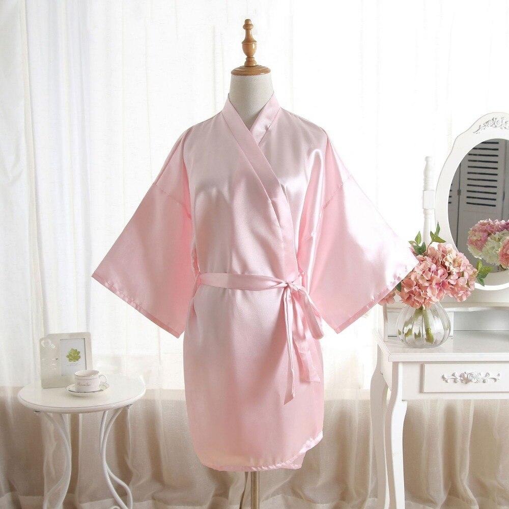 US $10.103 10% OFFNew Women Satin Short Nightgown Kimono Robe Bathrobe Solid  Pajamas Wedding Bride Bridesmaid Sexy Dress Gown One Size Plus SizeRobes