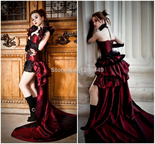 Fashionable High Low Corset Black And Red Wedding Dresses To Party ...