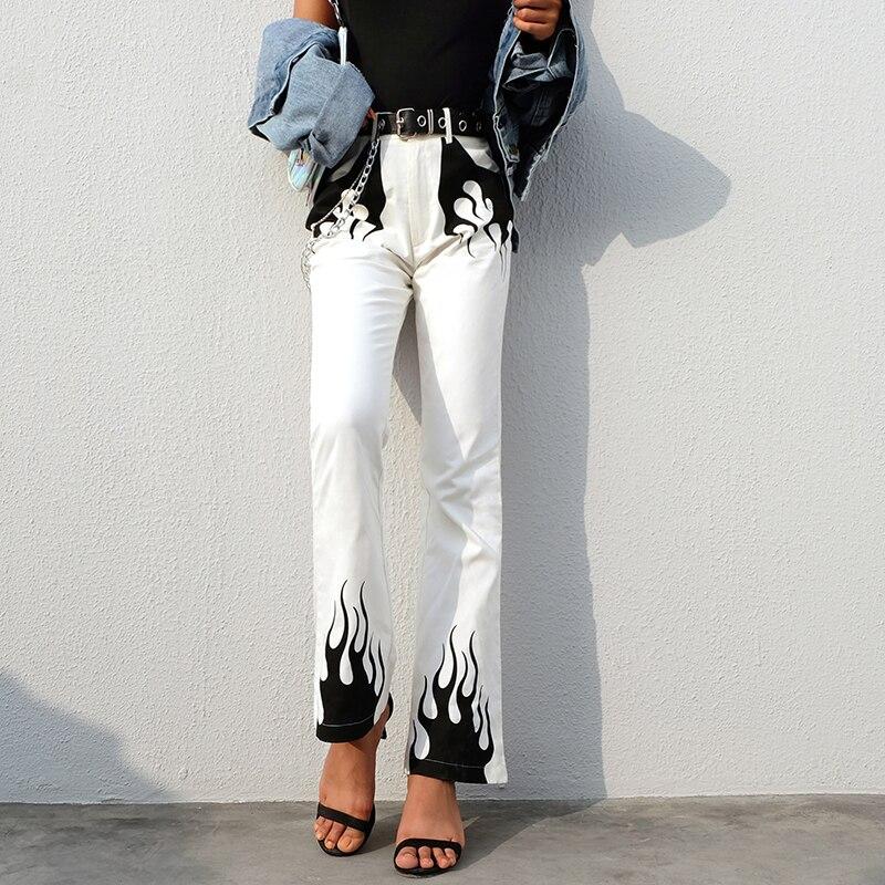 SUCHCUTE Casual Panelled   Wide     Leg     Pants   Women 2019 Streetwear High Waist Flared Trousers Fire Print Bell Bottom   Pants   Capris