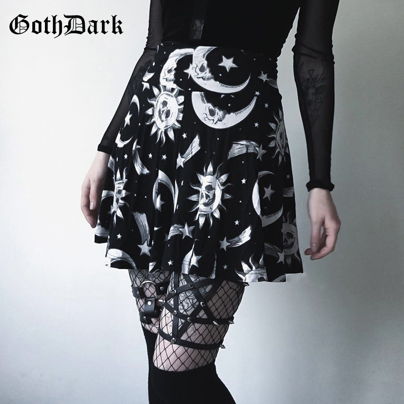 Goth Dark Harajuku Black Print Skirts Women Gothic Style Summer 2019 Aesthetic Grunge Pleated Fashion Elegant Skirt Sexy Skirts