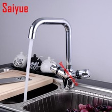 цена на Great Quality Thermostatic Kitchen Sink Swivel Mixer Chrome Brass Basin Faucet water tap dual holder single hole deck mounted
