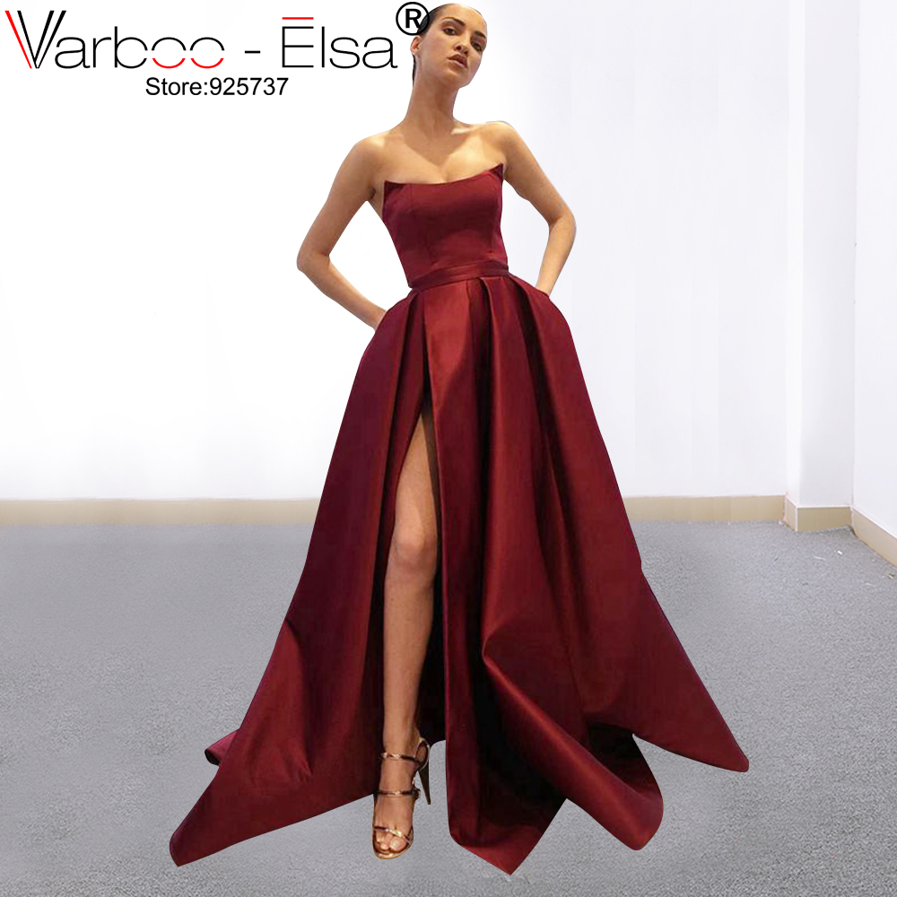 VARBOO_ELSA 2019 New Boat Neck Backless A Line Long red Evening   Dress   Elegant Party   Prom     Dresses   Vestido De Festa   Prom   Gowns