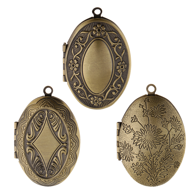 b2ae220b7 Chic Vintage Flower Engraved Photo Picture Frame Charm Oval Shape Locket  Pendant DIY Jewelry