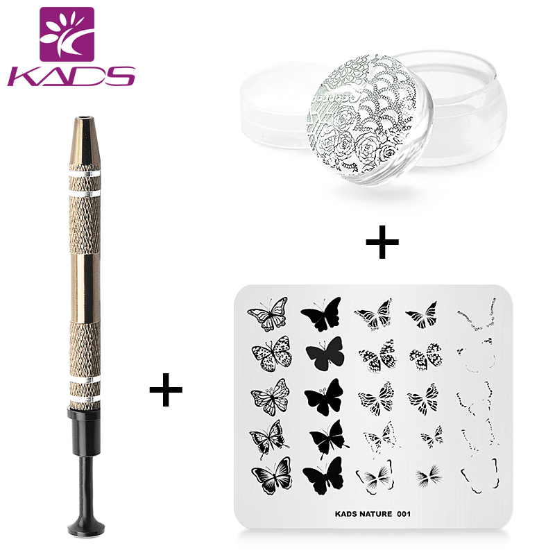 KADS New Flower Nail Art Stamp Template Image Plate + nail stamper + Cotton Claw for nail tools professional стоимость