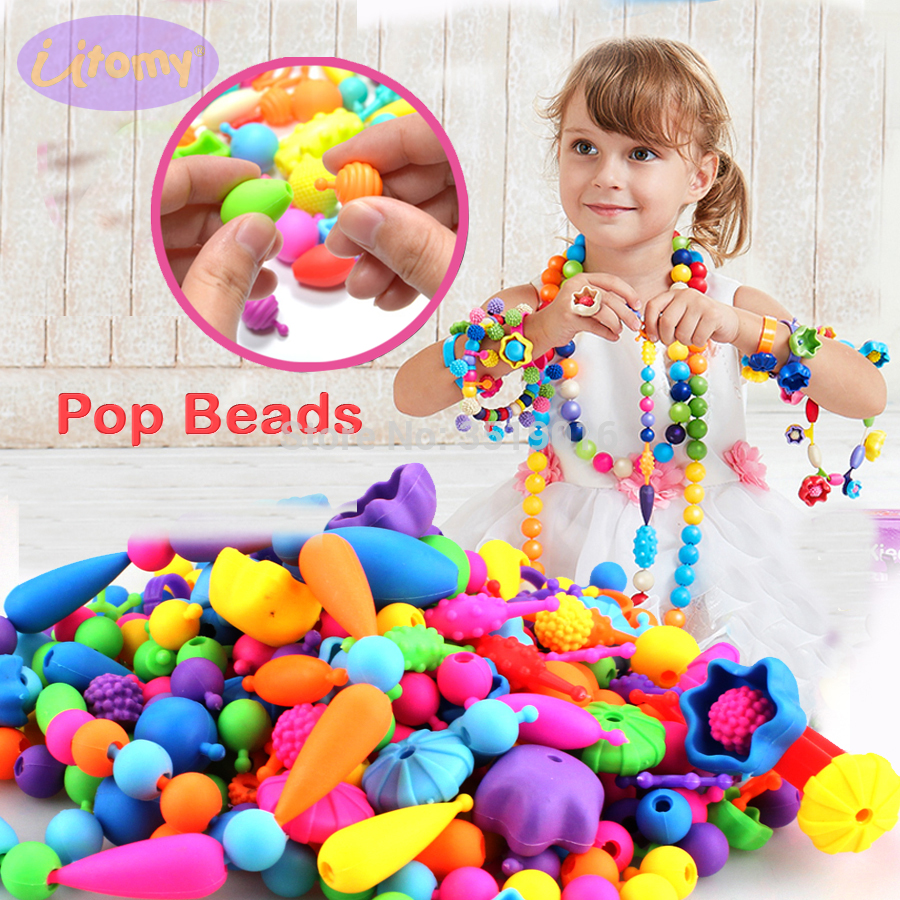 Pop Beads 100PCS Pop Arty Snap Together Beads For Kids Toddlers Creative DIY Jewelry Set Toys Making Necklace Bracelet And Ring