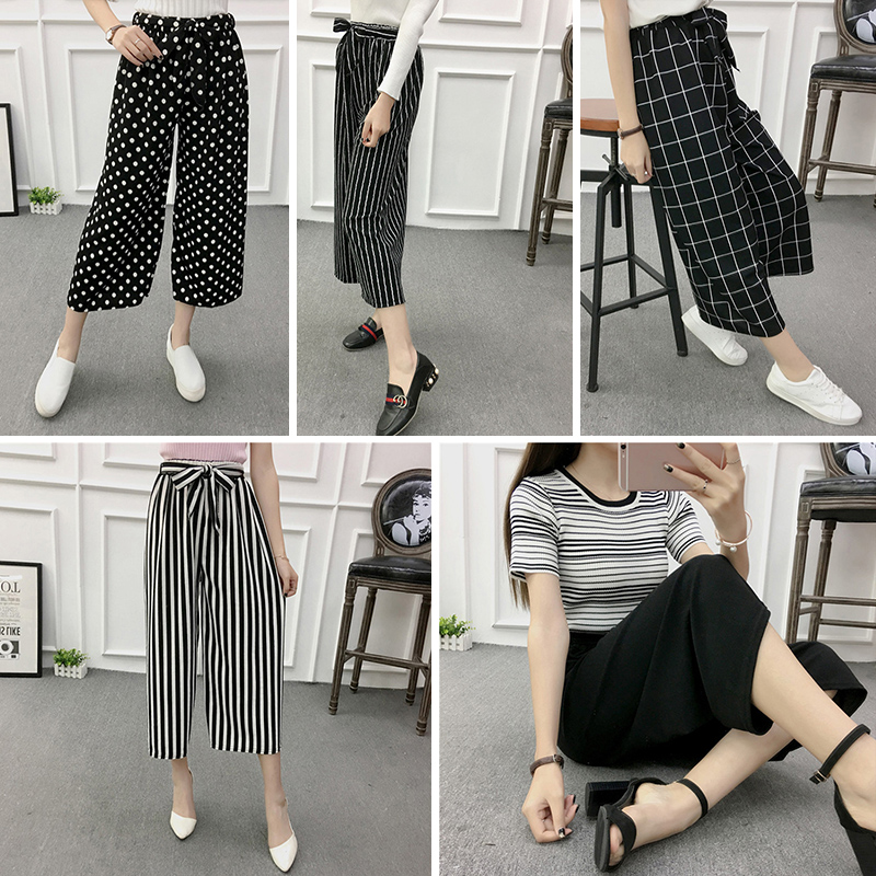 2017 Women Casual Loose Wide Leg Pants high Waist stripe Trousers plaid dot 10styles Oversized Solid Long Pants one size