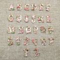 26pcs New Fashion Personalized A-Z Initial Alphabet Charms Enamel Flower Leaves Letter Pendant for Bracelet Choker Necklace DIY