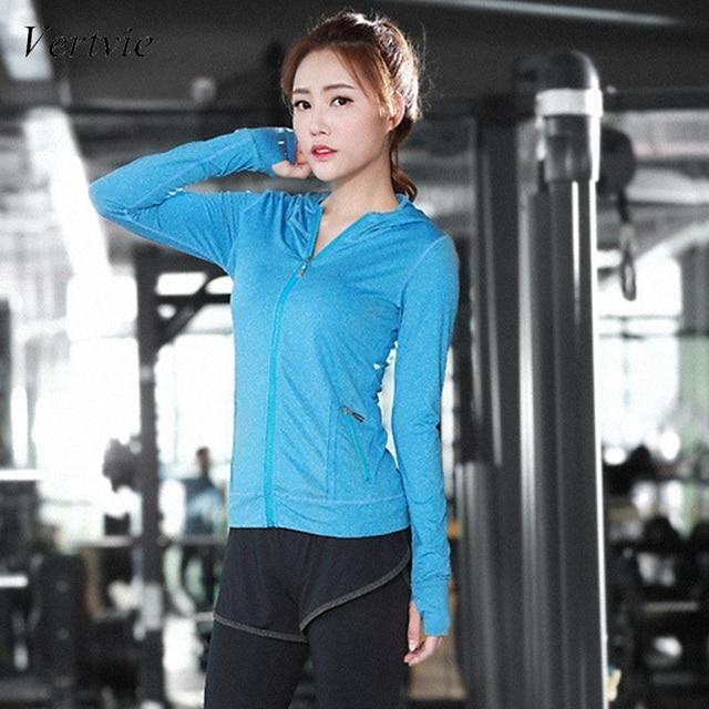 7752427902b84 Vertvie Fitness Women Running Jacket New Hooded Solid Zipper Pocket  Sportswear Crossfit Sports Jacket Plus Size Athleisure Coat