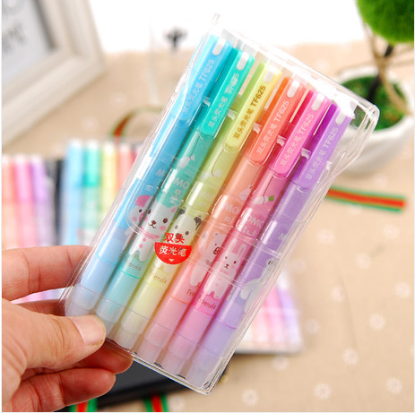 New  Fresh Look And Cute Animals Design Double-end Highlighter Pen Fluorescent Pen Stationery Office Material School Supplies