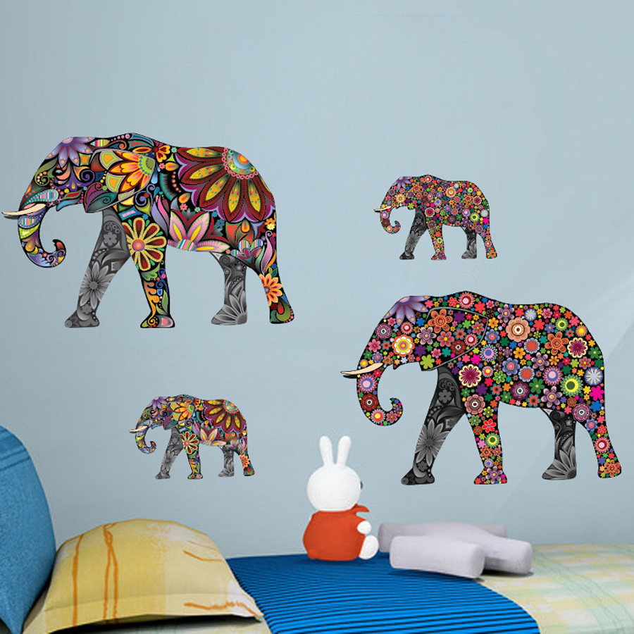 Colorful Elephant Flower Pattern Color Wall Sticker For Living Room ...