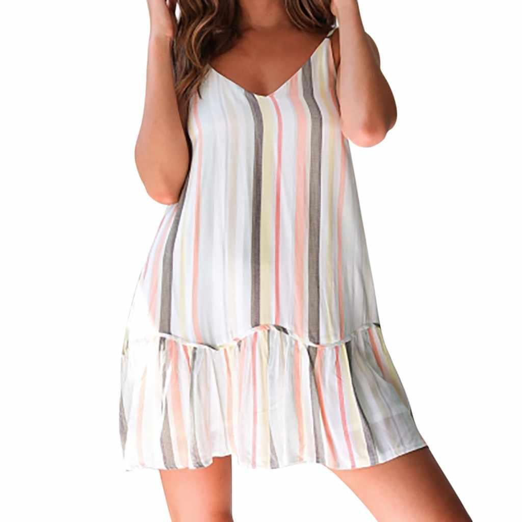 JAYCOSIN женские весенние и летние модные богемные повседневные полосатые женские платья без рукавов с бретельками Mar26 P38