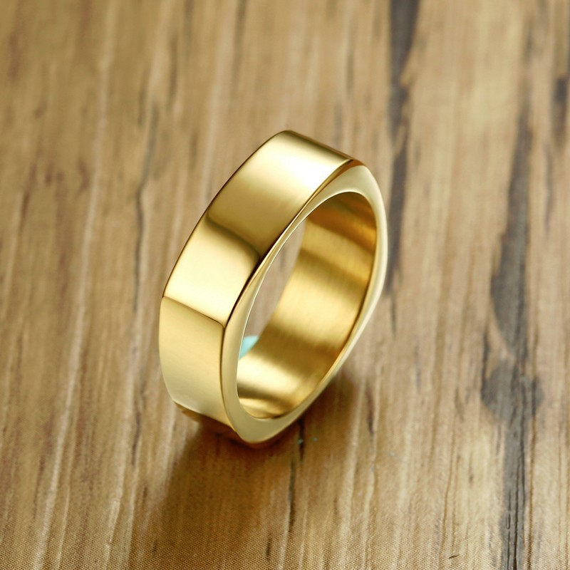Gents Rectangle Flat Top Ring For Men Stainless Steel Wedding Bands Bike Style Gold Silver Black
