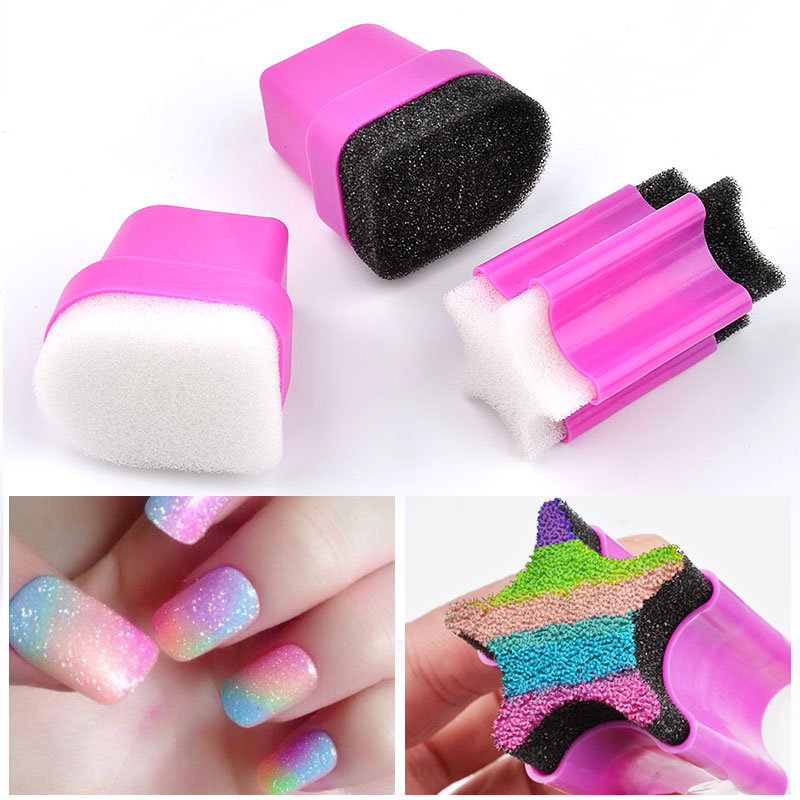 1pcs Nail Stamper Sponge Head with Rose Holder For Nail Polish Gradient Color Printing Creative Manicure Stamping Nail Art Tools ...