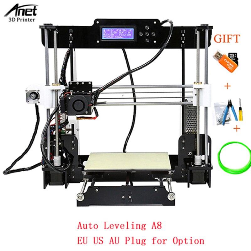 Anet A8 Desktop 3D Printer BLACK EU UK US PLUG Metal Nozzle Extruder Acrylic 3d Printer DIY Kit with SD Card Free Filament