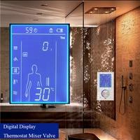 JMKWS ЖК дисплей Smart смеситель для душа термостатический кран цифровой Дисплей душ Панель Сенсорный экран Управление душ Системы в стене