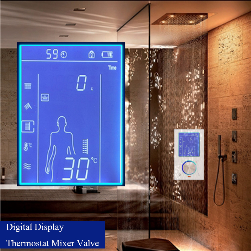 jmkws lcd smart shower mixer thermostatic valve faucet digital display shower panel touch screen. Black Bedroom Furniture Sets. Home Design Ideas