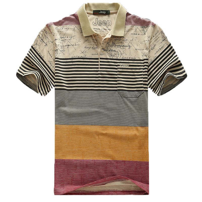 Striped t shirt short sleeve casual turn down collar t for Mens dress shirt sleeve length