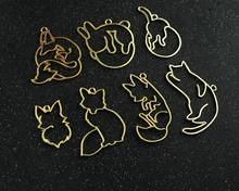 5 pcs/lot fox cat shape magic bar Metal Frame Pendant Gold Charm Bezel Setting Cabochon Setting UV Resin Charm(China)