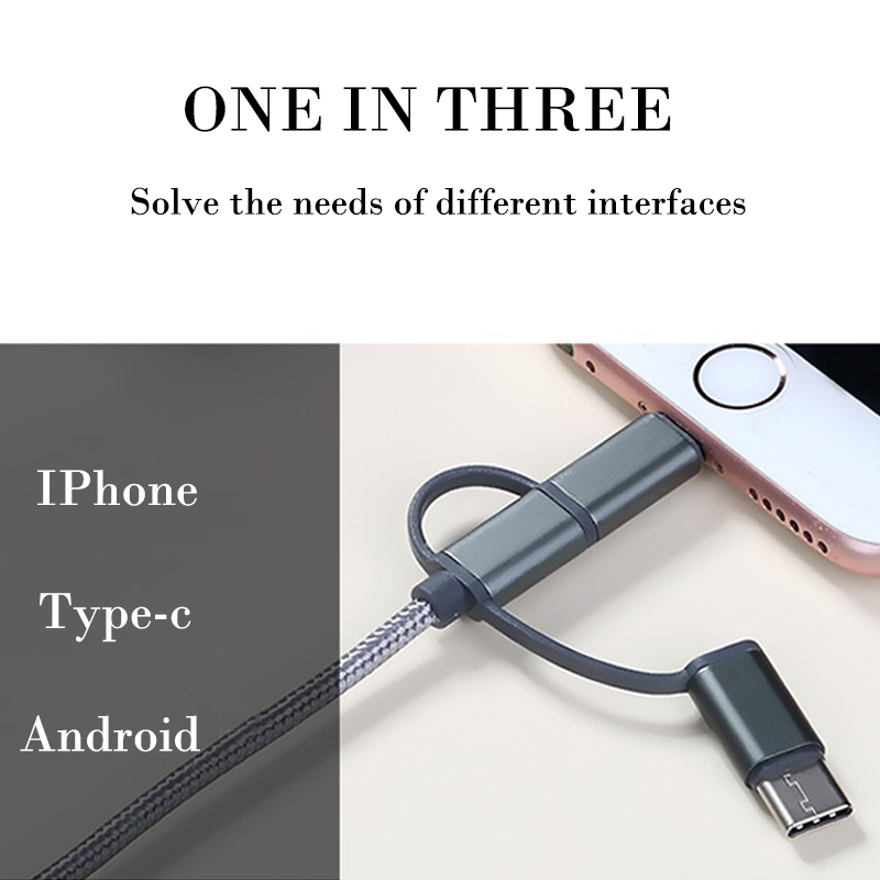 3 in 1 Colorful Data Line USB Cable For iPhone 6 7 8 Plus Charging Wire Type-c Micro usb For Android Mobile Phone Fast Charging