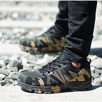 Botas de Trabajo y Seguridad de verano para hombre de construcción de camuflaje a prueba de perforaciones zapatos de seguridad Indestructible transpirables con punta de acero más 48