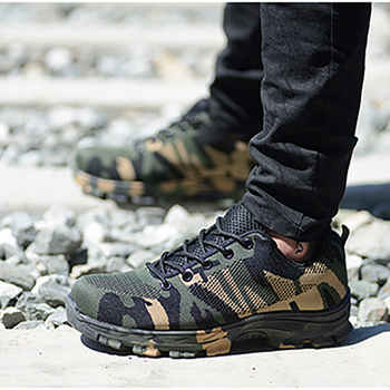 Summer Work & Safety Boots Construction Men Camouflage Puncture Proof Breathable Indestructible Safety Shoes Steel Toe Plus 48 - Category 🛒 Shoes