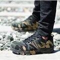 Verão trabalho & botas de segurança construção homem camuflagem punctura prova respirável sapatos de segurança indestrutível aço toe plus 48