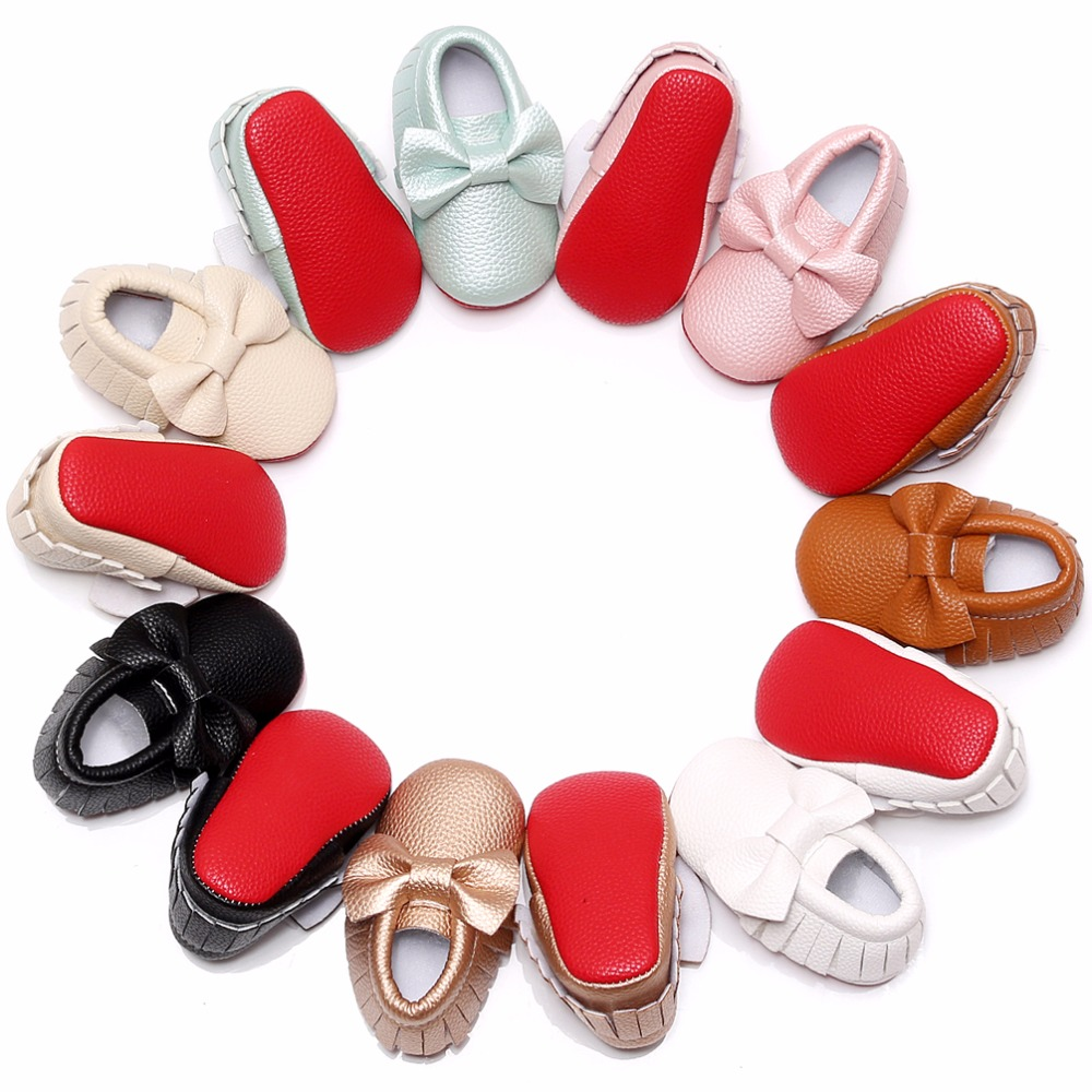 Hongteya Lovely Red Soled Baby Moccasin First Walkers Big Bow Baby Girls Shoes Newborn Infant Shoes For Toddler 0-2T