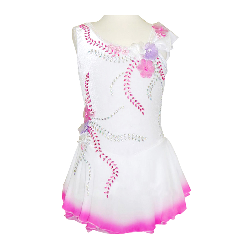 Customized Costume Ice Figure Skating Dress Gymnastics Skirt Competition Adult Child Girl Performance white Pink Rhinestone customized costume ice figure skating gymnastics dress competition adult child girl pink skirt performance fold off shoulder