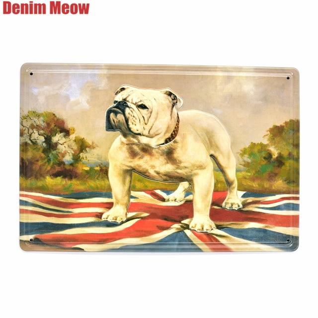 Bulldog Vintage Embossed Metal Tin Signs Home Bar Pub Animal ...