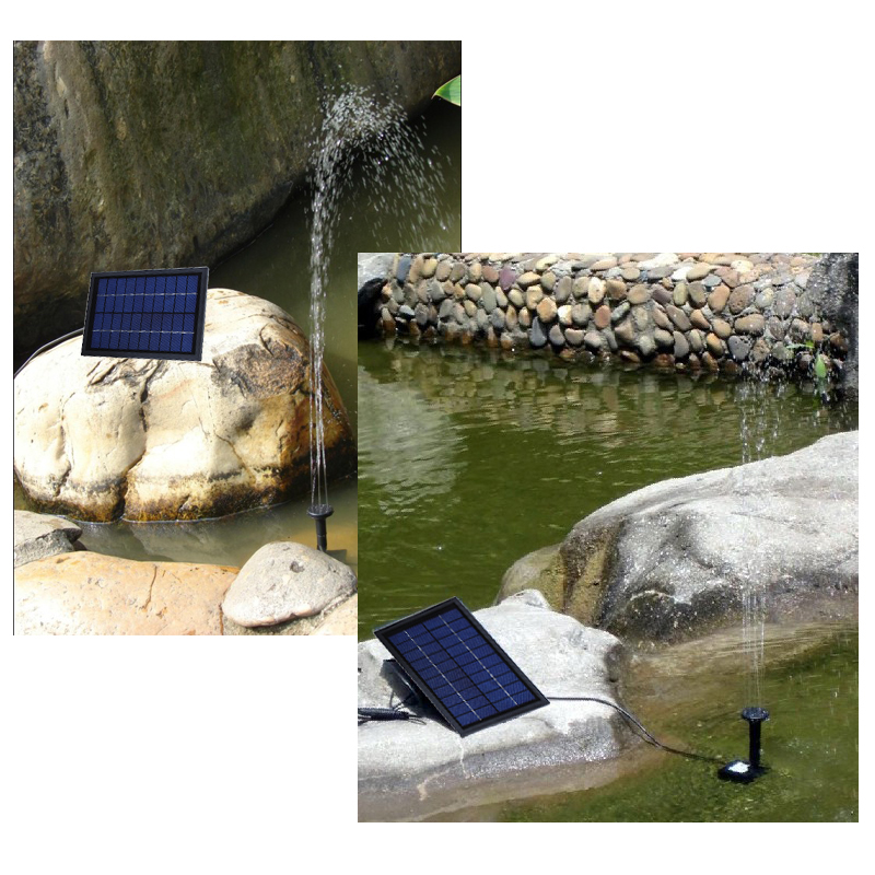 10V 5W Solar Power Decorative Fountain Water Pump with 6 LED Spotlight for Garden Pond Pool