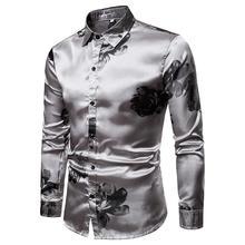 Mens Shirt Long Sleeve Blouse Large Silver Grey Men Hawaiian clothing Fashion New