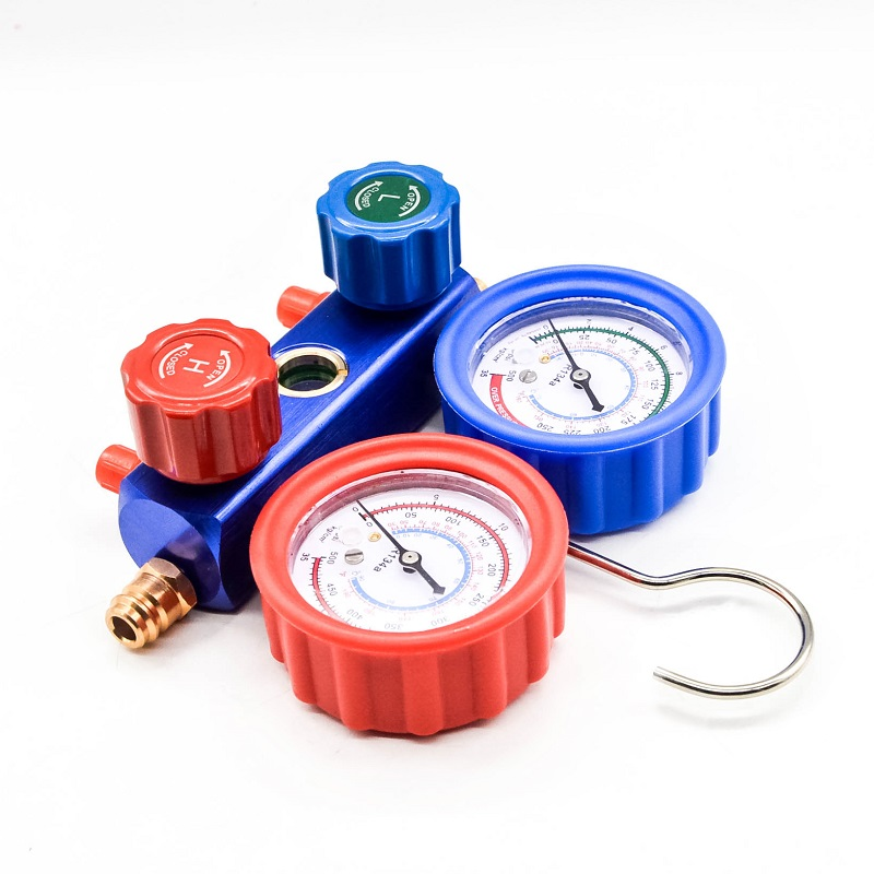 High quality Carton version 134A manifold gauge set W/ pipes R134a 134a R12 for auto air conditioning tool