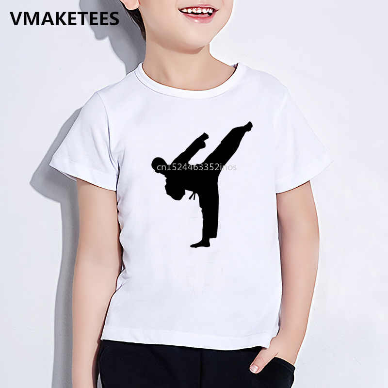 Musim Panas Lengan Pendek Anak Perempuan dan Anak Laki-laki T Shirt Anak-anak Karate MMA Shotokan Cetak T-shirt Kanji Kasual Pakaian Bayi, HKP650