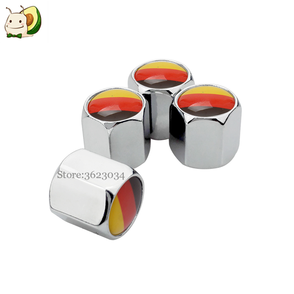 Tire Valves Caps Air Stem Cover Metal Germany Flag Logo for Audi A4 S4 RS4 Opel Astra Polo Passat Tiguan VW Golf Car Accessories