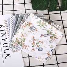 New 7pcs 25x25cm Cotton Fabric Assorted Squares Pre-Cut Quilt Quarters Bundle DIY Patchwork Cloth Material Handmade Doll Gray