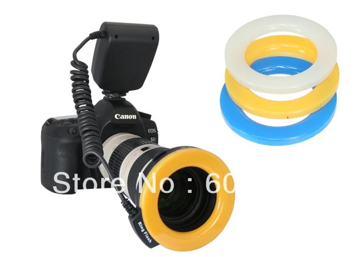 Gros Macro O Ring 48-lampe de poche LED pour objectif 49/52/55/58/67/72/77mm avec LCD