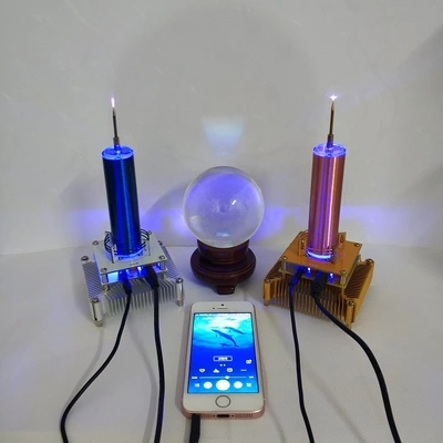 DIY Power sensor Tesla Coil Put Music Ion Windmill Wreath Spaced Lights Wireless Transmission Radio Station in Air Conditioner Parts from Home Appliances
