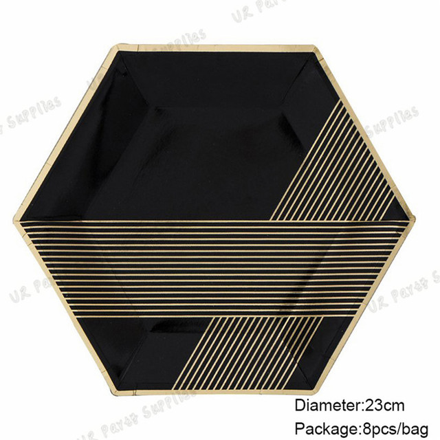 128pcs Black and Gold Paper Plates Foil Gold Hexagon Plates Black Paper Tableware Birthday Halloween Wedding  sc 1 st  AliExpress.com & 128pcs Black and Gold Paper Plates Foil Gold Hexagon Plates Black ...