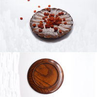 1 Pezzo di Alta Qualità Creativa Tortoiseshel Tutta In Legno Piatto di Legno Fatti A Mano Da Dessert Piastra A Forma di Fiore 21 CM di Diametro