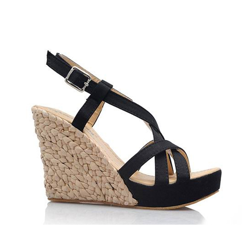 c55bf8c9b95f6 Wedges Sandals Women Plus Size 34 43 High Quality Straw Plaited Sole  Platform Female Summer Shoes High Heels sapatos femininos-in Women s Sandals  from Shoes ...