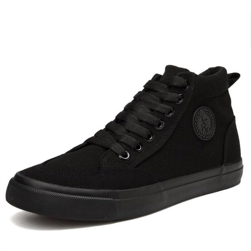 Transpirable Casuales 2018 Clásicos Blanco Black Zapatillas Negro Pisos Plataforma Moda Negro Alta Zapatos De blanco all Hombres Sólido Lona Los ffOPq